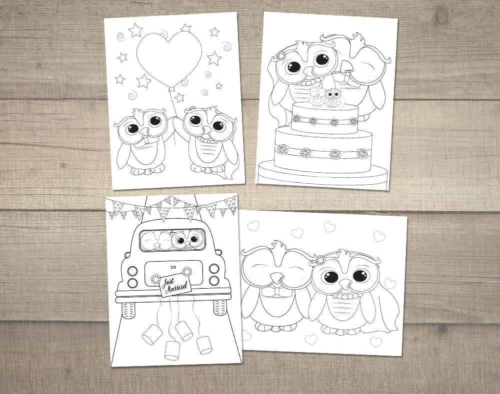 Kleurplaten Over Trouwen.Bruiloft Kleurplaten Digitaal Bestand Set Van 4 Jenny Illustraties