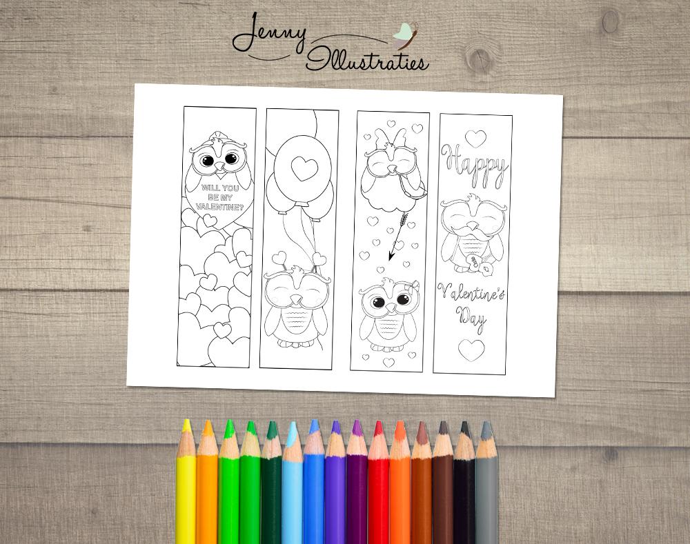 Valentijn Kleurplaten Uitprinten.Valentijnsdag Kleurplaat Boekenlegger Om Zelf Te Kleuren Digital