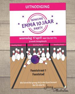 roze bowling uitnodiging